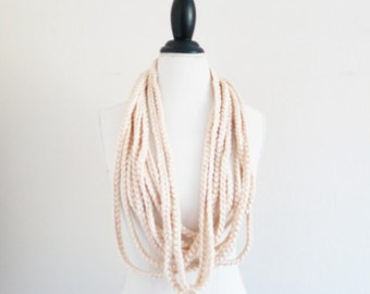 Infinity Crochet Scarf Ivory Cream Chunky Necklace Cowl Jersey