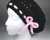 Soft Crocheted Slouchy Hat Chemo Cap, Adult, Teen Sized Black with Pink Tie - Raven Chunky