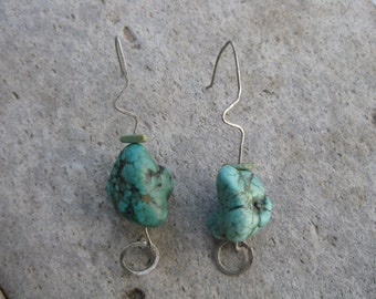 Antiqued Silver Zigzag and Turquoise Earrings