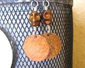 Skull Earrings, Hammered Copper, Niobium Hooks
