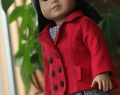 Crimson Pea Coat with Modern Sheath and Cable Knitted Headband