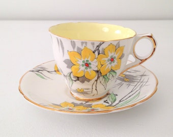 Vintage Royal Stafford English Bone China Tea Cup & Saucer Tea Party