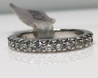 Handmade Diamond Wedding Band in 14K White Gold