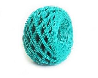 Linen yarn, linen thread, natural linen, natural 3ply yarn, green color