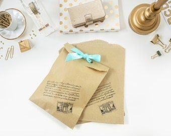 Travel Themed Favor Bags - Hand Stamped Merchandise Bags - Antique Script Gift Bags - Wedding Favors - Rustic Kraft Favor Bags - Candy Bags