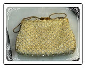 Vintage Rhinestone Evening Bag w Metallic Gold Signed by Walbaeg   PR-012a-041913015
