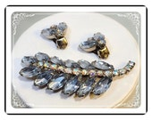 Blue Rhinestone Set -  Vintage Leaf Brooch w Matching Earrings   Demi-1797a-121012000