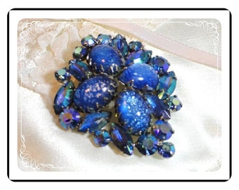 Blue Bling Brooch - Bombshell Art Glass & AB  Pin-1078a-012312000