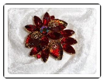 Red Fruit Salad Brooch - Dynamic Vintage Rhinestone   Pin-1623a-070111000
