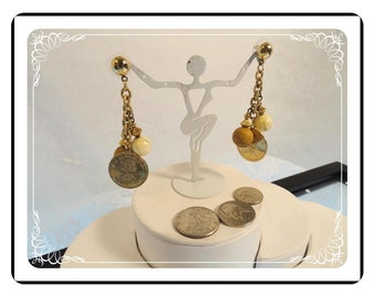Coins & Wood Beads Dangling Earrings for pierced ears -  E416a-081412000