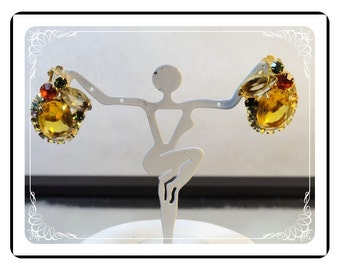 Vintage Juliana Earrings - Lovely Amber Fall Colored Rhinetones  DE041a-090412031