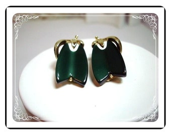Forest Green Earrings - Lisner Signed Lucite Clip on Chevron  E287a-040812000