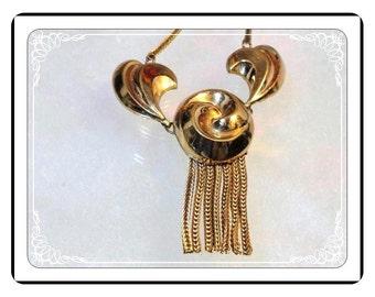 1940's Fringe Necklace - Vintage Art Deco 1940's Gold Tone Fringe Necklace -   Neck-1094a-091713000