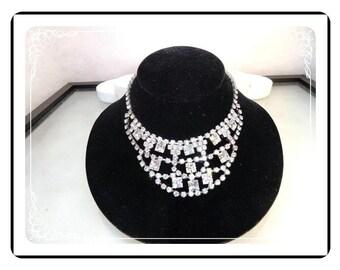 Clear Rhinestone Necklace - Stunning Vintage Big Bib - Crystal Ice Style   Neck-1111a-012312000B