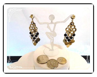 Dangling Pierced Earrings - Vintage Black Dangling Beads and Goldtone Hearts - Pierced Earrings   E2170a-081412000