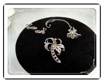 Jay Flex Sterling Parure - Necklace, Earrings & Brooch  -  1538a-052312000