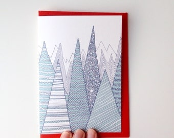 SALE / Mountains Christmas card / shimmery pearl card / feative card / blank Greeting card with red envelope / Luxury greetig card