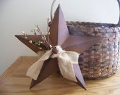 Rusty Barn Star Burlap Pastel Pip Berry Wall Hanger Primitive Decor