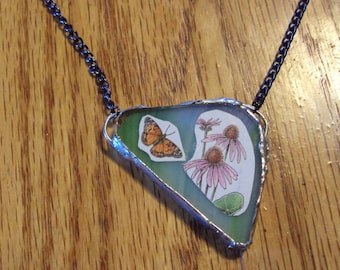 Recycled Seed Catalog Necklace- Butterfly and Purple Coneflower (Echinacea)