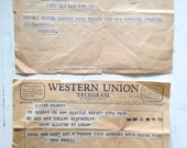Vintage Set of Western Union Telegrams Baby Announcments from 1960s and 1940s Paper Ephemera