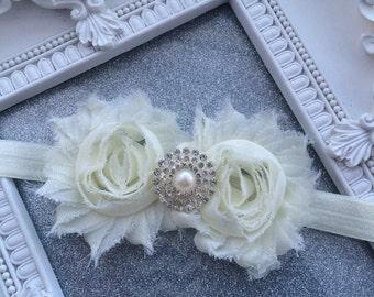 Girls Hair Accessories-Ivory-pearls-rhinestones--Shabby- Headband-Wedding-Flowers for Hair-Flower Girl-Baby-Infant-Baptism-christening