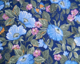 Butterflies and Morning Glories on Navy Ground with rose, tan and greens. Springs Industries