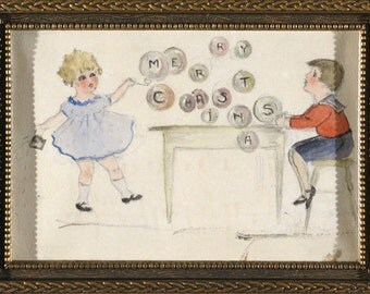 1920s Merry Christmas Original Watercolor: Two Charming Children in Antique Frame Ready to Hang OOAK