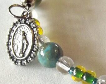 Teal Green & Blue Rosary Bracelet