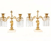 Vintage French Provence Gold and Crystal Prism Candelabra Set // White Marble, Crystal and Gold // French Candlestick Pair // Ornate Gold
