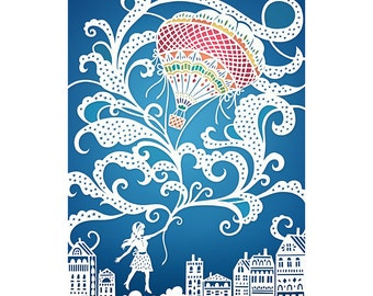 Up, Up and Away! - 8x10 Print of Original Papercut Illustration  - Fine Art Print - Hot Air Balloon