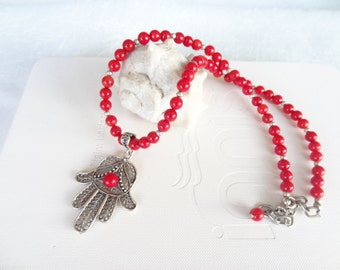 Red Coral Hamsa Necklace, Hand of Fatima Necklace,  Silver Necklace,  Feminine, Gift for Her