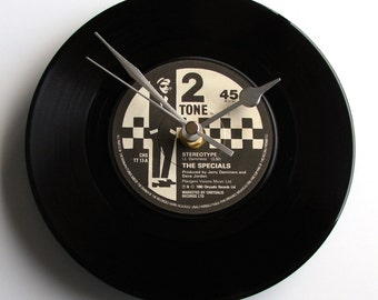 """The SPECIALS Vinyl Record Clock from recycled 7"""" single """"Maggies Farm"""" or """"International Jet Set"""" Mod Two Tone Ska northern soul black white"""