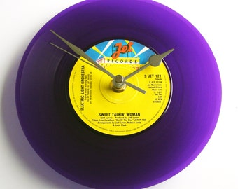 """ELO Vinyl Record CLOCK recycled 7"""" single """"Sweet Talkin' Woman"""" For office, den, music room or bedroom gift women purple yellow anniversary"""