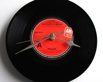 "THE POLICE Vinyl Record CLOCK ""Every Little Thing She Does Is Magic"" or ""Roxanne"", recycled 7"" single 1980s pop music black and red"