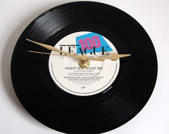 "HUMAN LEAGUE Vinyl Record CLOCK ""Don't You Want Me"" recycled 7"" single black and white Great for 80s pop fans, waitress in a cocktail bat..."