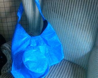 Blue Faux Leather Bag