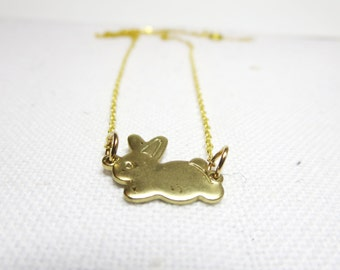 Bunny necklace - Gold tone  Bunny Necklace -little Rabbit Charm on a Delicate 17 Inch Chain with  Free  gift