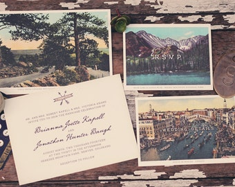 Vintage Postcard Wedding Invitation Suite