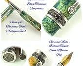 Custom Wooden Pen Fountain Pen Beautiful Turquoise Dyed Amboyna Burl  Rhodium and Black Titanium Hardware 784FPD