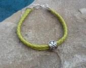 Vintage Silver Flower Charm on a Green Leather Bracelet or Anklet!