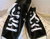 vintage, CONVERSE  BLACK VELVET low top all star made in usa  shoe size 7 mens  9.5 womens