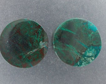 "Malachite Chrysocolla 3/4"", 19mm  one pair ear plugs"