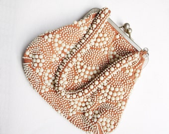 Vintage 50s white beaded purse/ beige rose ash handbag/ ying yang pattern/ Le Jule bag