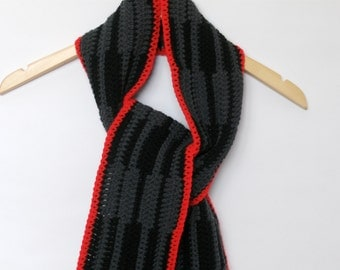 Crochet Scarf Black and Gray with Bold Red Trim