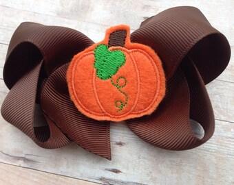 Thanksgiving bow - pumpkin bow, fall hair bow
