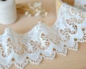 off white cotton lace trim , crochet cotton lace
