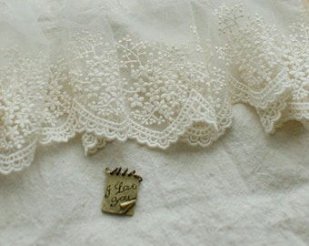 ivory cotton embroidery lace fabric trim, 2 yards