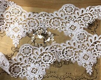 off white lace trim, guipure lace trim, Venise lace trim, crochet trim lace trim, scalloped lace trim