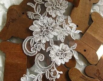 Ivory Alencon Lace Applique, bridal lace applique, bridal headpiece