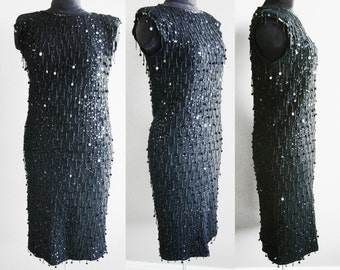 1980s Vegas Black Lambswool Sequins Evening Dress, Beaded Fringe with Paillettes, Adrienne Vittadini Made in Japan